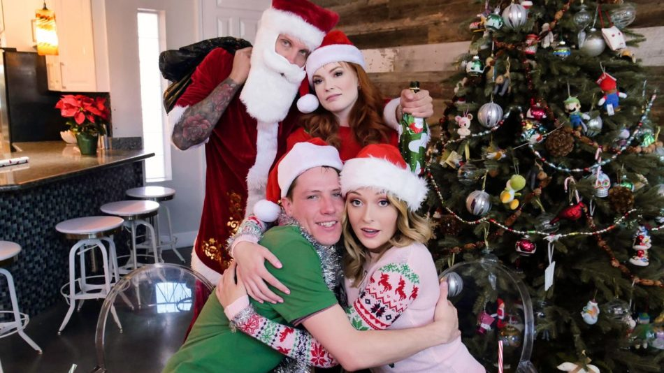 Charlotte Sins and Summer Hart - Christmas Family Orgy